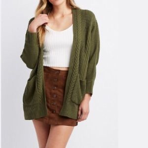 Sweaters - olive open front knit cardigan